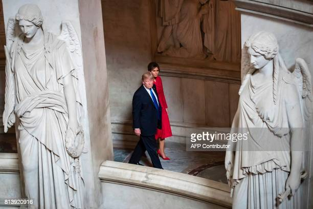 US President Donald Trump and First lady Melania Trump visit Napoleon Bonaparte's tomb at Les Invalides in Paris on July 13 2017 Donald Trump arrived...