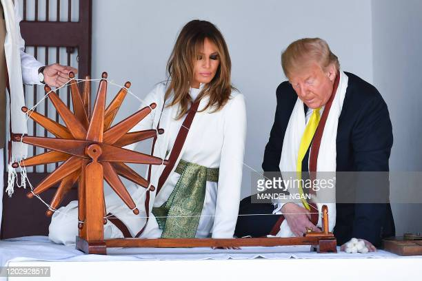 US President Donald Trump and First Lady Melania Trump visit the Gandhi Ashram in Ahmedabad on February 24 2020