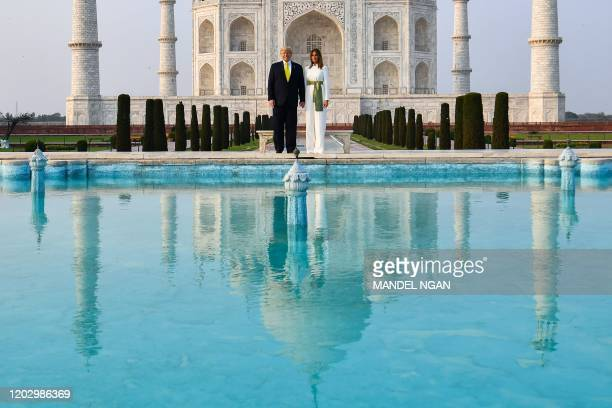 US President Donald Trump and First Lady Melania Trump visit the Taj Mahal in Agra on February 24 2020