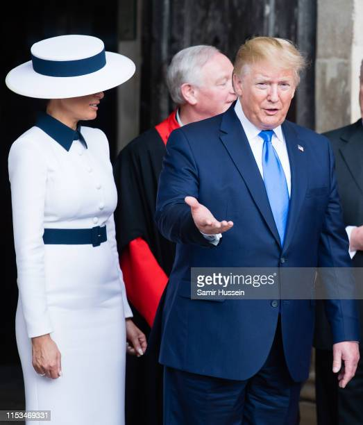 President Donald Trump and First Lady Melania Trump visit Westminster Abbey on June 03, 2019 in London, England. President Trump's three-day state...