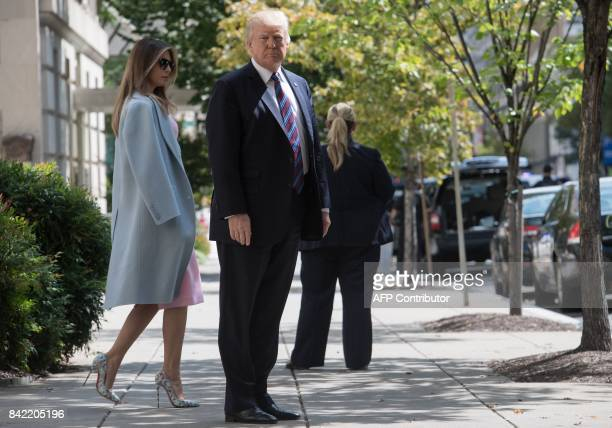 US President Donald Trump and First Lady Melania Trump walk out of St John's Epicopal Church in Washington DC on September 3 2017 after attending a...