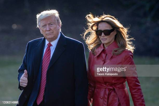 President Donald Trump and First Lady Melania Trump walk to the south lawn heading to Palm Beach for the weekend on February 14, 2020 in Washington,...