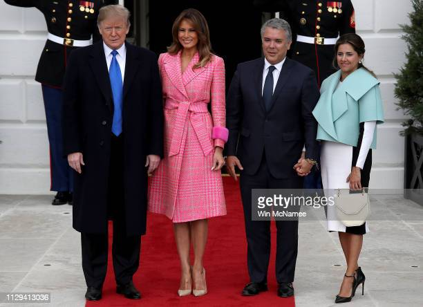 S President Donald Trump and first lady Melania Trump welcome Colombian President Ivan Duque Marquez and first lady Maria Juliana Ruiz Sandoval to...
