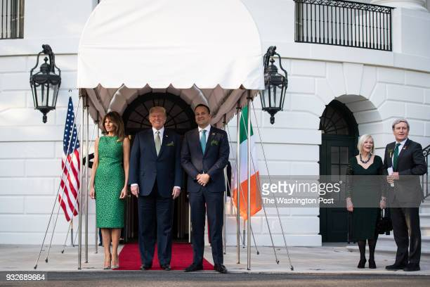 President Donald Trump and first lady Melania Trump welcome Irish Prime Minister Leo Varadkar at the South Portico as he arrives at the White House...