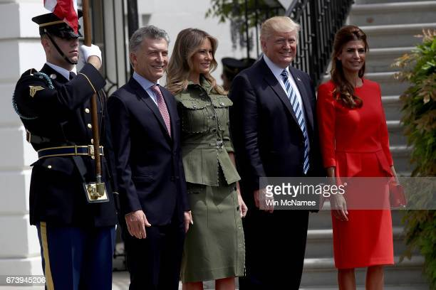 President Donald Trump and first lady Melania Trump welcome President Mauricio Macri of Argentina and the first lady of Argentina, Juliana Awada , to...
