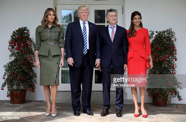 S President Donald Trump and first lady Melania Trump welcome President Mauricio Macri of Argentina and the first lady of Argentina Juliana Awada to...
