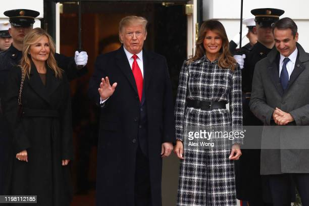 S President Donald Trump and first lady Melania Trump welcome Prime Minister of Greece Kyriakos Mitsotakis and his wife Mareva GrabowskiMitsotakis at...