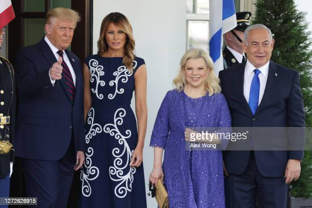 President Donald Trump and First Lady Melania Trump welcome Prime Minister of Israel Benjamin Netanyahu and his wife Sara Netanyahu to the White...
