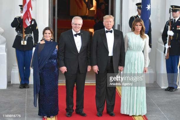 S President Donald Trump and first lady Melania Trump welcome Australian Prime Minister Scott Morrison and his wife Jenny Morrison to an official...