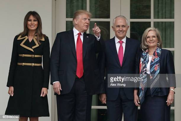 S President Donald Trump and first lady Melania Trump welcome Australian Prime Minister Malcolm Turnbull and his wife Lucy Turnbull during an arrival...