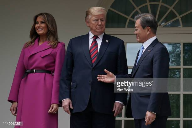 President Donald Trump and first lady Melania Trump welcome South Korean President Moon Jae-in to the White House April 11, 2019 in Washington, DC....