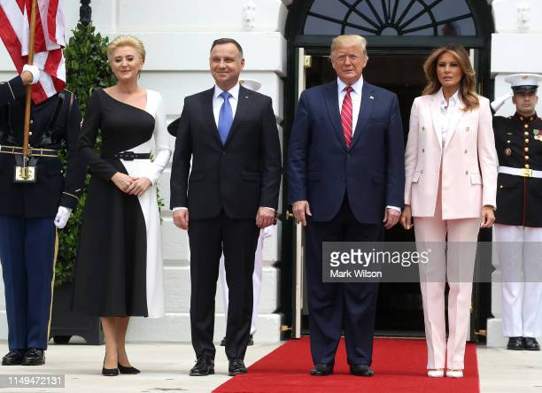 President Donald Trump and first lady Melania Trump welcome the President of Poland, Andrzej Duda and his wife Agata Kornhauser-Duda, after their...
