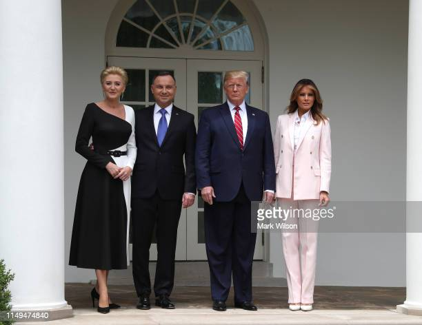 S President Donald Trump and first lady Melania Trump welcome the President of Poland Andrzej Duda and his wife Agata KornhauserDuda after their...
