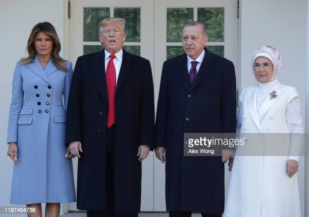 S President Donald Trump and first lady Melania Trump welcome Turkish President Recep Tayyip Erdogan and his wife Emine Erdogan upon their arrival at...