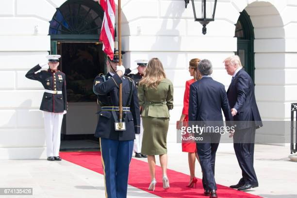 President Donald Trump and First Lady Melania Trump welcomed President Mauricio Macri and First Lady Juliana Awada of Argentina at the South Portico...
