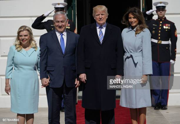 US President Donald Trump and First Lady Melania Trump welcomes Israeli Prime Minister Benjamin Netanyahu and his wife Sara to the White House on...