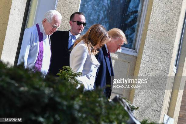 US President Donald Trump and First Lady Melania Trump with interim rector Bruce McPherson as they leave St Johns Episcopal church in Washington DC...