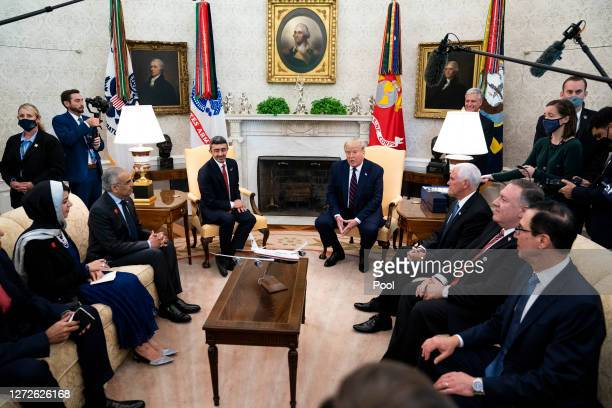S President Donald Trump and Foreign Affairs Minister of the United Arab Emirates Abdullah bin Zayed bin Sultan Al Nahyan participate in a meeting in...
