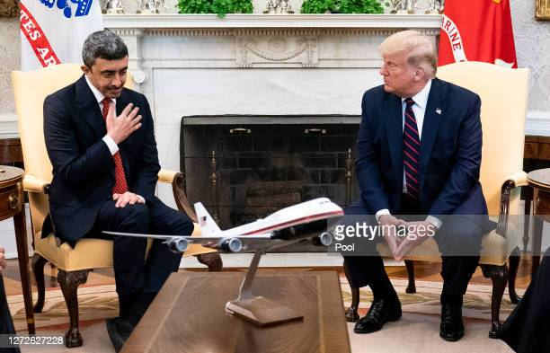 President Donald Trump and Foreign Affairs Minister of the United Arab Emirates Abdullah bin Zayed bin Sultan Al Nahyan participate in a meeting in...