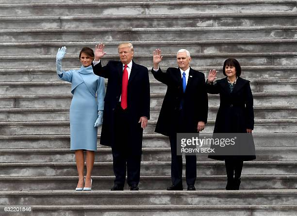 US President Donald Trump and former president Barack Obama stand on the steps of the US Capitol with First Lady Melania Trump and Michelle Obama on...