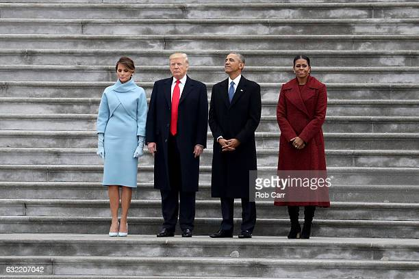 President Donald Trump and former president Barack Obama stand on the steps of the US Capitol with First Lady Melania Trump and Michelle Obama on...