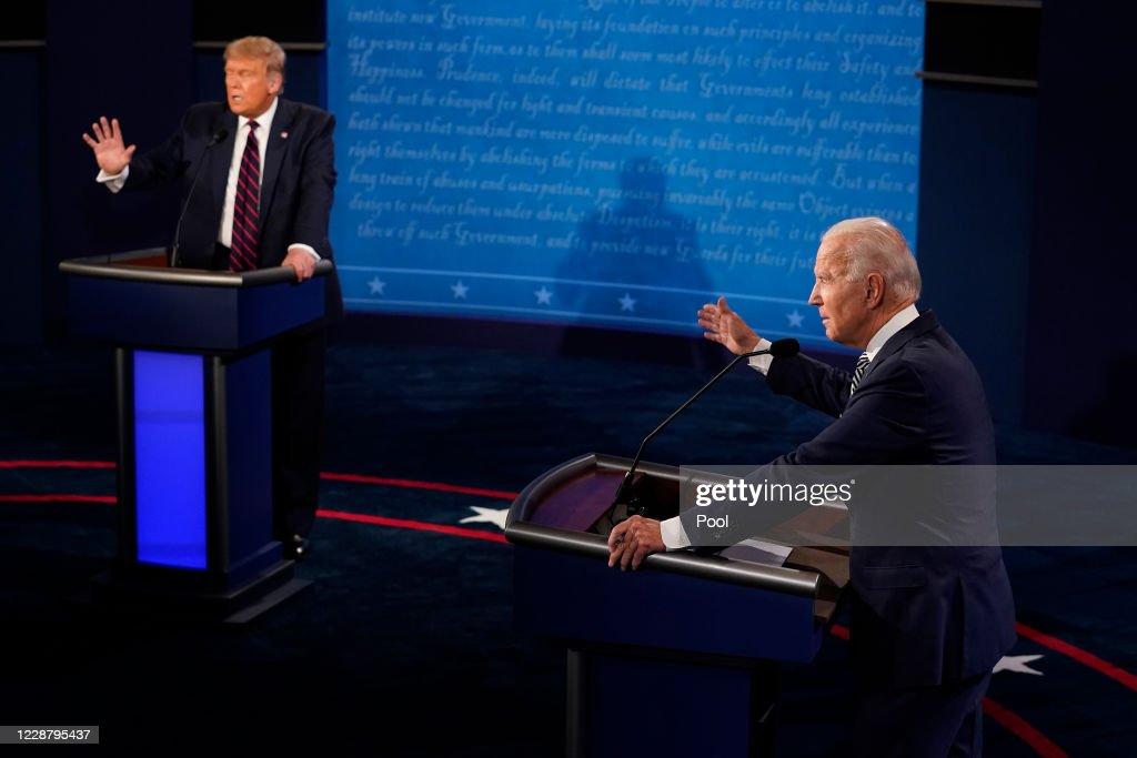 Donald Trump And Joe Biden Participate In First Presidential Debate : News Photo