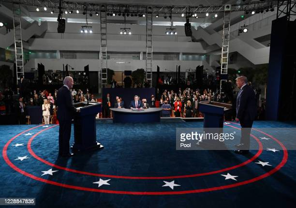 President Donald Trump and former Vice President Democratic presidential nominee Joe Biden participate in the first presidential debate at the Health...