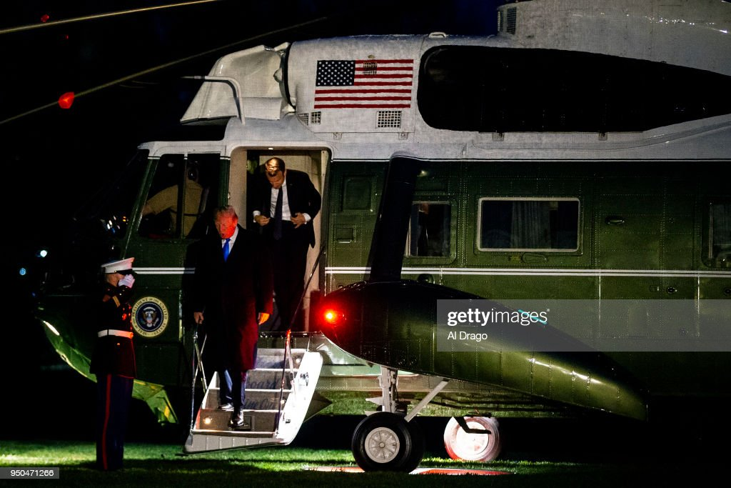 The Trumps And The Macrons Return To White House After A Dinner At Mt. Vernon