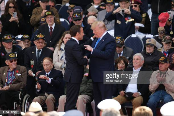 S President Donald Trump and French President Emmanuel Macron attend the main ceremony to mark the 75th anniversary of the World War II Allied DDay...