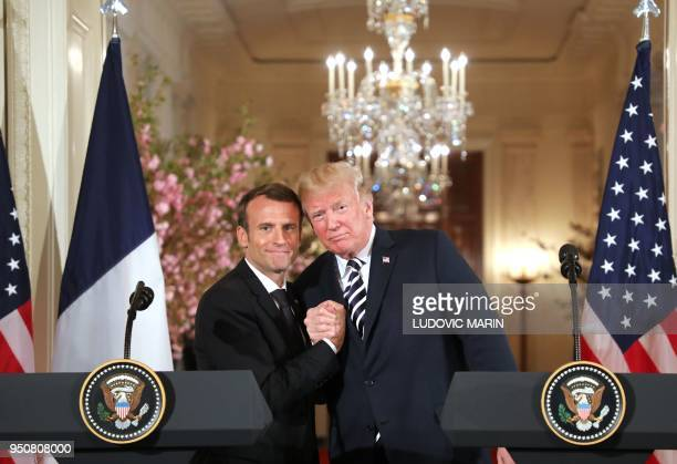 President Donald Trump and French President Emmanuel Macron hold a joint press conference at the White House in Washington DC on April 24 2018