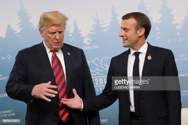 President Donald Trump and French President Emmanuel Macron hold a meeting on the sidelines of the G7 Summit in La Malbaie Quebec Canada June 8 2018
