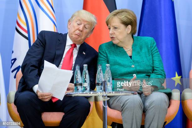 President Donald Trump and German Chancellor Angela Merkel attend a panel discussion titled 'Launch Event Women's Entrepreneur Finance Initiative' on...