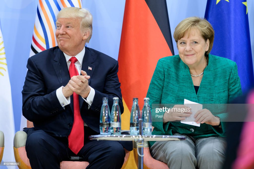 U.S President Donald Trump and German Chancellor Angela Merkel attend a panel discussion titled 'Launch Event Women's Entrepreneur Finance Initiative' on the second day of the G20 summit on July 8, 2017 in Hamburg, Germany. Leaders of the G20 group of nations are meeting for the July 7-8 summit. Topics high on the agenda for the summit include climate policy and development programs for African economies.