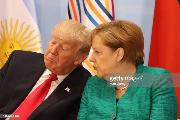 President Donald Trump and German Chancellor Angela Merkel during the G20 summit on July 8 2017 in Hamburg Germany Leaders of the G20 group of...
