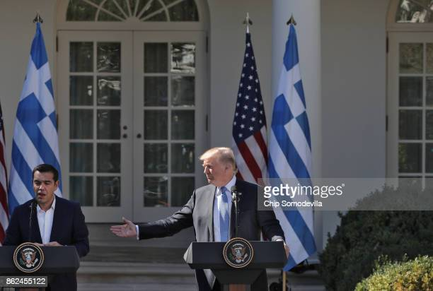 S President Donald Trump and Greek Prime Minister Alexis Tsipras hold a joint press conference in the Rose Gard at the White House October 17 2017 in...