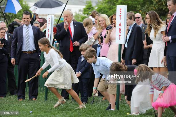 S President Donald Trump and his family including Donald Trump Jr Tiffany Trump first lady Melania Trump Barron Trump Lara Yunaska and Eric Trump...