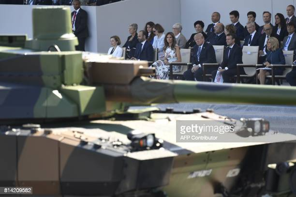 US President Donald Trump and his wife First Lady Melania Trump French President Emmanuel Macron and his wife Brigitte Macron French Prime Minister...