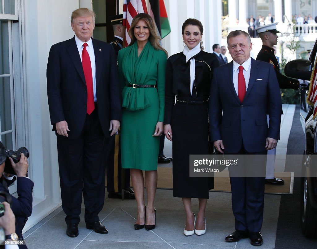 President Trump And First Lady Welcome Jordan's King Abdullah And Queen Rania To White House