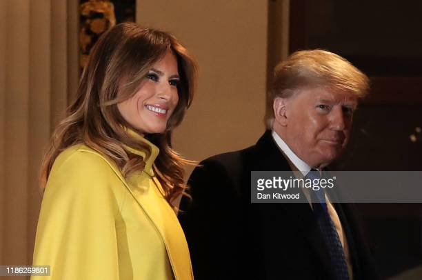 President Donald Trump and his wife First Lady of the United States Melania Trump arrive at a reception for NATO leaders hosted by Queen Elizabeth II...