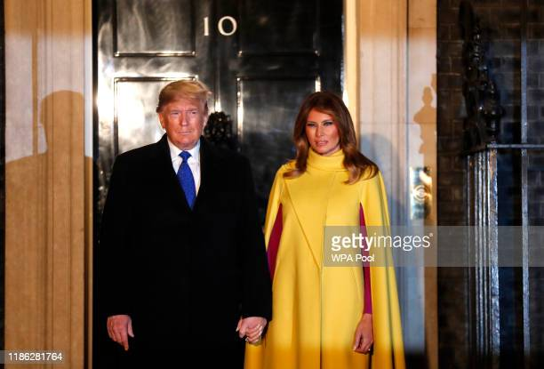 S President Donald Trump and his wife First Lady of the United States Melania Trump arrive at 10 Downing Street ahead of a NATO reception hosted by...