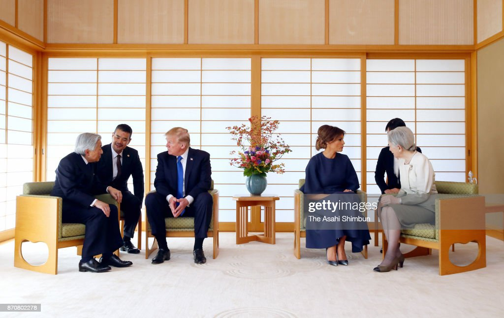 U.S. President Donald Trump (3rd L) and his wife Melania (3rd R) talk with Emperor Akihito (1st L) and Empress Michiko (1st R) during their meeting at the Imperial Palace on November 6, 2017 in Tokyo, Japan. Trump is on 11-day tour to Asia.