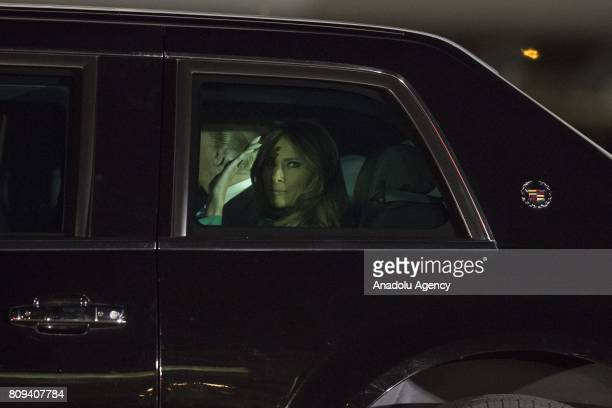 President Donald Trump and his wife Melania Trump are seen inside US Presidential State Car after an official welcoming ceremony as they left...