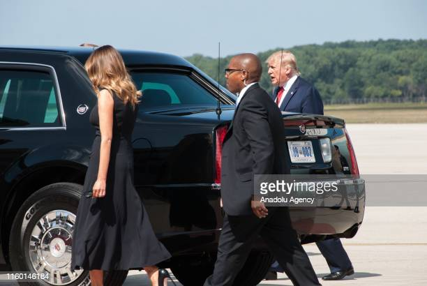 President Donald Trump and his wife Melania Trump arrive at WrightPatterson Air Force Base to visit mass shooting sites in Dayton Ohio United States...