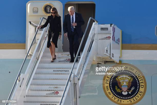 President Donald Trump and his wife Melania Trump arrive at Fiumicino airport in Rome, Italy on May 23, 2017.