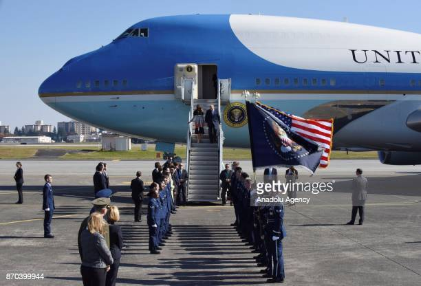 S President Donald Trump and his wife Melania Trump arrive at Yokota Air Base in Tokyo Japan on November 5 2017