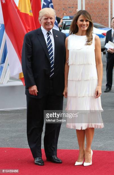 US President Donald Trump and his wife Melania Trump arrive to the Elbphilharmone for the dinner during the G20 Summit on July2017 in Hamburg Germany