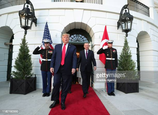 S President Donald Trump and his wife Melania Trump bid farewell President of Turkey Recep Tayyip Erdogan and his wife Emine Erdogan following their...