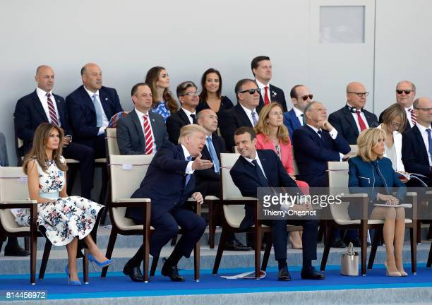 President Donald Trump and his wife Melania Trump French President Emmanuel Macron and his wife Brigitte Trogneux attend the traditional Bastille day...
