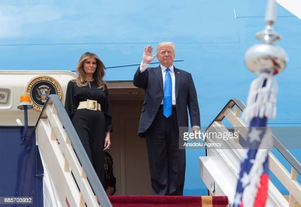US President Donald Trump and his wife Melania Trump get off plane during their arrival at the King Khalid International Airport in Riyadh Saudi...