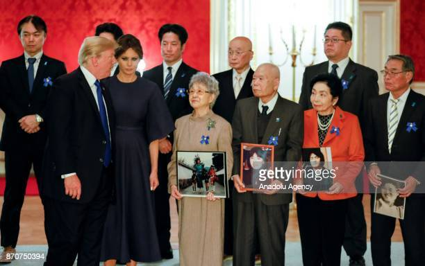 S President Donald Trump and his wife Melania Trump meet abductees and families of abductees by North Korea with Japanese Prime Minister Shinzo Abe...